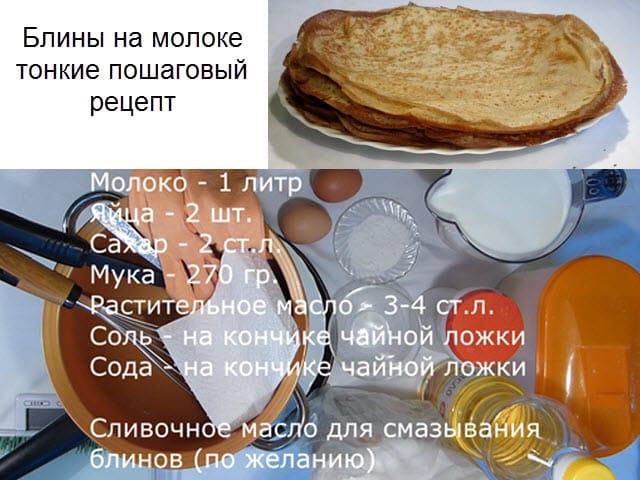 Блинчики тонкие на молоке рецепт пошагово без яиц