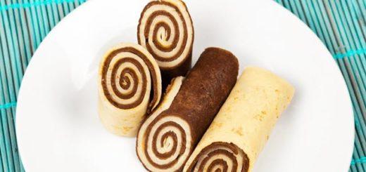 Рулетики из блинов. Шоколадные блины.